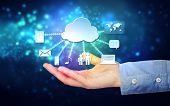 Hand Holding Hovering Cloud Computing Concept