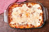 foto of lasagna  - Hot baked lasagna in glass baking dish - JPG