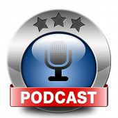 podcast listen audio music or audiobook live stream webcasting blue red icon
