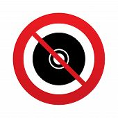 No CD or DVD sign icon. Compact disc symbol.