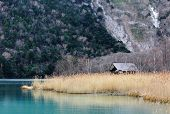 image of kanto  - Beatiful lake with wooden house - JPG
