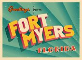 Vintage Touristic Greeting Card - Fort Myers, Florida - Vector EPS10. Grunge effects can be easily r