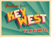Vintage Touristic Greeting Card - Key West, Florida - Vector EPS10. Grunge effects can be easily rem