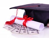 Graduation hat, money and scroll, isolated on white