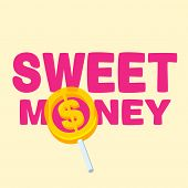 Text Sweet Money With Lollipop