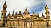 towers of Basilica at Zaragoza Spain