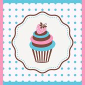 picture of jimmy  - Vintage card with cupcake with strawberry vector illustration - JPG