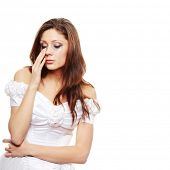 stock photo of nervous breakdown  - Beautiful young caucasian sad bride crying - JPG