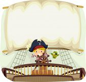stock photo of bandit  - Banner Illustration with a Pirate Theme - JPG