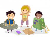 picture of playmate  - Illustration of Kids Wearing Makeshift Space Costumes - JPG