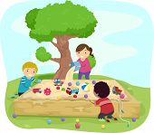 Illustration of Kids Playing Around the Sandbox