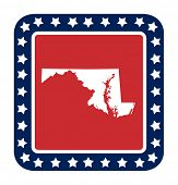 stock photo of maryland  - Maryland state button on American flag in flat web design style - JPG
