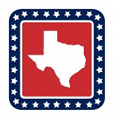 foto of texas state flag  - Texas state button on American flag in flat web design style - JPG