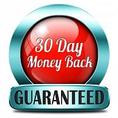 30 day money back button or icon 100% satisfaction customer service web shop warranty guaranteed on