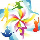 stock photo of person silhouette  - Rainbow colored fitness activity people silhouettes over spiral pattern - JPG