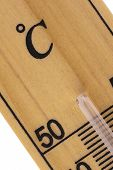 picture of oblique  - Oblique close up of an old fashioned room thermometer in celcius scale - JPG