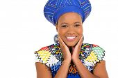 image of zulu  - cute african zulu woman closeup portrait on white - JPG