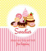 stock photo of ice-cake  - Greeting card template with retro patterns of yellow polka dots and pink stripes around a round frame with cakes  pastries  ice cream  sweets and candy and text  - JPG