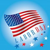 stock photo of patriot  - Labor Day of waving American Flag on blue background - JPG