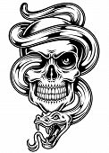 picture of tribal  - fully editable vector illustration of skull with snake isolated on white background, image suitable for design element, 