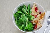 picture of snow peas  - Grilled chilli chicken with steamed broccoli snow peas green beans and ginger - JPG