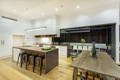 image of penthouse  - Kitchen and entertainment area in luxury home - JPG