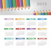 stock photo of pencils  - Calendar 2015 year with colored pencils vector - JPG