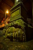 pic of medusa  - A large Medusa head supports a column at the Basilica Cistern in Istanbul - JPG