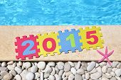 "picture of time-piece  - ""2015"" by poolside made with jigsaw puzzle pieces  - JPG"
