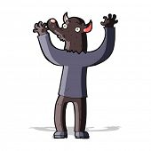 foto of werewolf  - cartoon happy werewolf man - JPG