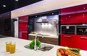 image of kitchen appliance  - Luxurious shiny new kitchen with modern appliances - JPG
