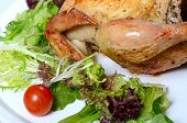 image of turkey-hen  - The baked hen with salad close up - JPG