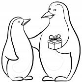 stock photo of emperor  - Antarctic black and white emperor penguins with a festive gift box - JPG