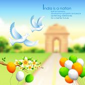 image of india gate  - illustration of India background with tricolor balloon and India Gate - JPG
