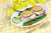stock photo of mahi  - Mahi Mahi dinner with fresh string beans and lime - JPG