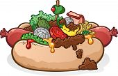 stock photo of hot dog  - A delicious hot dog with lots of toppings including vegetables - JPG