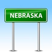 stock photo of nebraska  - Illustration of Nebraska green metal road sign - JPG