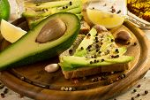 picture of avocado  - Avocado sandwich with fresh avocado fruit - JPG