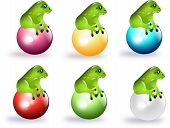 picture of glass frog  - Set of green frog sitting on different colored balls - JPG