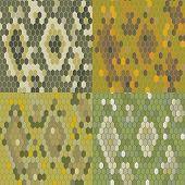 stock photo of pythons  - Set 4 snake skin texture - JPG