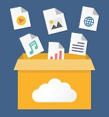 stock photo of transfer  - Vector flat illustration of file storage in cloud - JPG