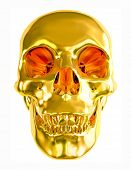 picture of gold tooth  - Gold skull isolated on white background - JPG