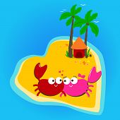 stock photo of deserted island  - A cute couple of crabs living in a beautiful heart shaped deserted island - JPG