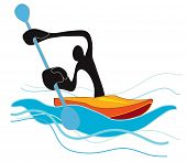 stock photo of canoe boat man  - Shadow man he playing flat water canoe or kayaks in the river or sea in game - JPG