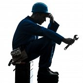 picture of fatigue  - one  repairman worker sad fatigue failure silhouette in studio on white background - JPG