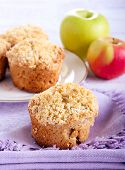 picture of buttermilk  - Apple buttermilk muffins with coconut crumble selective focus - JPG