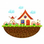 stock photo of farm landscape  - Flat farm landscape illustration with farmhouse - JPG