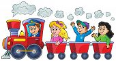 picture of train-wheel  - Train with happy kids  - JPG