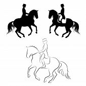 picture of horse-riders  - Set of 3 silhouettes of dressage horse with rider performing pirouette - JPG