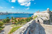 picture of el morro castle  - The fortress of El Morro in Havana with a view of the city skyline - JPG